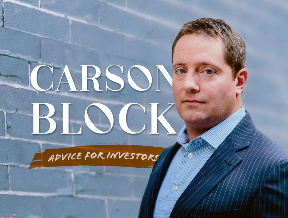 """Carson Block's Advice For Investors: """"Don't Chase The Hype Stories. Reality Catches Up."""""""